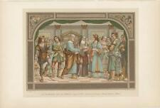 ANTIQUE MARRIAGE OF VIRGIN MARY CHROMOLITHOGRAPH COLOR ART VICTORIAN ART PRINT