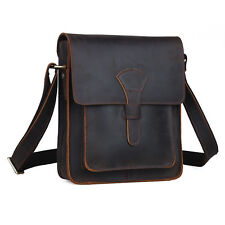 Retro Real Leather Brown Men's Shoulder Bag Sling Cross Body Small School Case