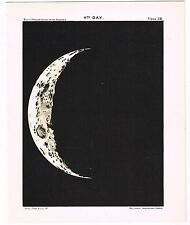 ANTIQUE PRINT VINTAGE 1925 ASTRONOMY STAR MAP CHART MOON 4TH DAY MATTE BLACK