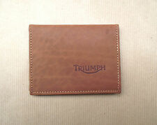 Triumph logo Brown Leather credit card size wallet, licence / ID holder (vs933)
