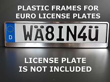 Frame Holder For Euro License Plate VW BMW Saab Mercedes Benz HP brush