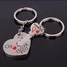 1 Par de Llaveros de Parejas Amantes Enamorados Corazón Llave Keyring Romántico