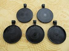 "20 Qty - 1"" Round Pendant Trays - Dark Black Color - Cameo Craft 25mm 1 inch"
