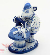 Gzhel Mice mouse tailor on sewing machine porcelain figurine souvenir handmade