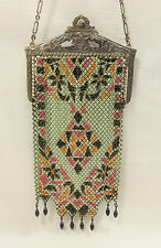 MANDALIAN  - Antique Enameled Chain Mail Mesh 1920's Art Deco Purse