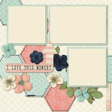 Premade - Double Page - Scrapbook Layout - Baby Girl This Moment - 717
