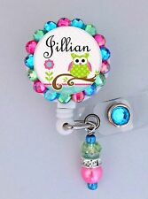 OWL ID REEL BLING BADGE HOLDER custom name with charm