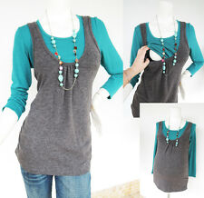 JANE Maternity Nursing Clothing Breast feeding Tops Brown/Green Shirts Pregnancy