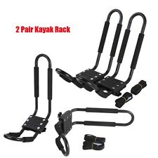 2 Pairs Kayak Carrier Boat Canoe Ski Surf Snowboard Roof Top Mounted J-Bar Rack