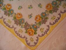 Vintage Pretty Yellow Rose w/Grey Scroll Border Hankie Handkerchief