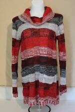 NEW Womens Knit Sweater Long Tunic Cowl Neck Plus Size 1X Ladies Top Red Black