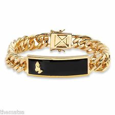 "MENS 14K GOLD BLACK ONYX PRAYING HANDS 8"" CURB LINK BRACELET  GP"