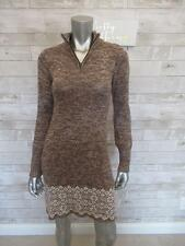 Soybu Fair Isle Brown Knit Sweater Dress Elbow Patch Cozy Size SMALL