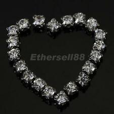 40pcs Loose crystal Faceted sew on DIAMANTE rhinestone Beads 3mm Silver Clear