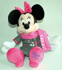 "NEW Disney Store CHICAGO EXCLUSIVE 17"" Minnie Mouse Plush Toy Doll W/Pink Scarf"