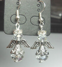 Handmade Guardian Angel Fairy Earrings Tibetan Silver Wing Crystal  Xmas Gift