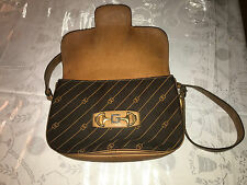 Gucci Vintage Brown Striped GG Jacquard Shoulder Bag