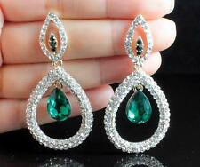 PROM AUSTRIAN CRYSTAL RHINESTONE GOLD CHANDELIER DANGLE EARRINGS BRIDAL E2086