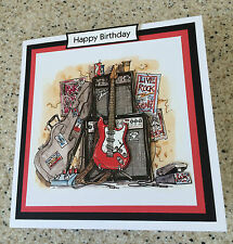 Handmade Happy Birthday 3D decoupage red electric guitar card rock music
