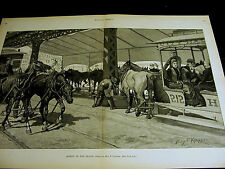 Klepper HOT DAY in NYC Street Cars Horses Water Fountains 1890 Large Folio Print