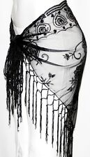 BLACK Tribal Belly Dance Dancing Sequin Lace Gothic Hip Scarf Shawl Fringe Belt