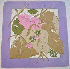 "VINTAGE AUTHENTIC GRES PARIS FLORAL ORCHID BEIGE PURPLE SILK 33"" SQUARE SCARF"