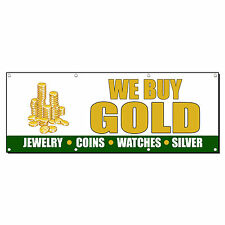 WE BUY GOLD JEWELRY COINS WATCHES SILVER 3 ft x 6 ft Banner Sign w/6 Grommets