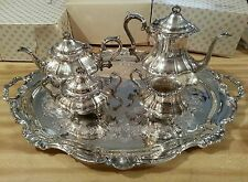 Gorham Strasbourg Sterling 4 pc. tea set w/silver plate serving tray Gorham