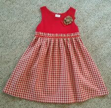 French Boutique Babine Bb Red Tan Gingham Dress 8 Yrs Flower Beautiful EUC