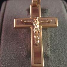 A017 - Kreuz Anhänger 750er 18k Gold mit Holz