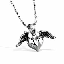 """Men Women High Polished Stainless Steel Heart In Angle Wing Pendant Necklace 22"""""""