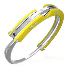 Urban Male Yellow Resin & Stainless Steel Handcuff Bangle Bracelet Wristband Men
