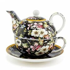 William Kilburn Blossom Tea Set For One Tea Pot Cup Saucer Black Floral Boxed