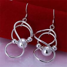 Womens Fashion Jewelry 925 Sterling Silver Plated Allergy Beads Dangle Earrings