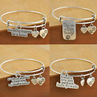 Family Daughter Sister Friends Gifts Bangle Bracelet  Love Words Charm Jewellery