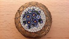 Antique Victorian Micro Mosaic gilt trinket box / patch snuff pill box