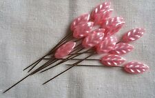 15 Pink Leaf Headed Dressmakers/Knitters Florists Pins Extra Long 63 mm