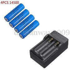 4x 14500 1200mAh 3.7V  AA Li-ion Rechargeable Battery + Charger For Flashlight
