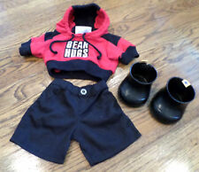 Build a Bear Boy Outfit Set Hugs Red and Black Hiking Pants Set Shoes Hoodie