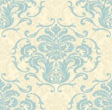 DESIGNER DAMASK CHELSEA CREAM / DUCK EGG WALLPAPER 6210 x
