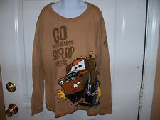 DISNEY Mater Go with The Best Scrap The Rest Long Sleeve Brown Tshirt Size L NEW