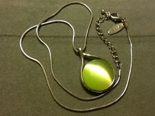 Gorgeous Signed Green Cat's Eye Cabochon Pendant Silver Back & Snake Chain ~ NY
