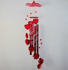 Wind Chimes ~ Red Etched Aluminum Tubing w/Acrylic Heart Clappers ~ BEAUTIFUL!