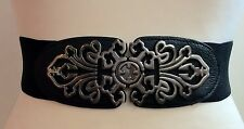 THICK ELASTIC WAIST BLACK BELT / CHUNKY SILVER ORNATE  BUCKLE / ELASTICATED / 17