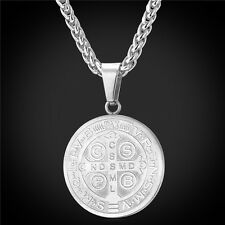 Stainless Steel Saint Benedict Medal Pendant Necklace 18K Gold Plated Jewelry
