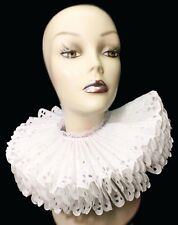 Ruffled Collar White Cotton Eyelet Elizabethan Neck Ruff Victorian Steampunk