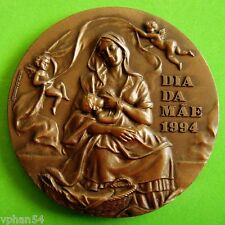 Madonna / Mother Nursing Baby / Flowers / Fantastic BIG Bronze Medal! M19a