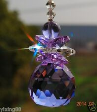 lilac crystal feng shui 30mm ball hanging chandelier  wedding rainbow ornament
