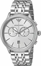 NEW MENS EMPORIO ARMANI (AR1796) SILVER STAINLESS STEEL CHRONOGRAPH WATCH
