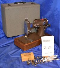 PRINCESS LONG SHUTTLE SEWING MACHINE WITH ATTACHMENTS SERVICED SEWS NICE CASE